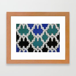 Mint and blue oriental ceramic tiles Framed Art Print