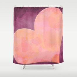 Pantone Conch Shell Pink 15-1624 Heart in Corner Purple Watercolor Abstract Art Shower Curtain