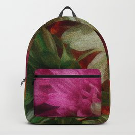 Grainy Green Flowers Backpack