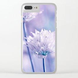 Allium blue macro 038 Clear iPhone Case