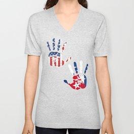 USA Cuba Handprint & Flag | Proud Cuban American Heritage, Biracial American Roots, Culture, Unisex V-Neck