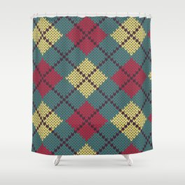 Faux Retro Argyle Knit Shower Curtain