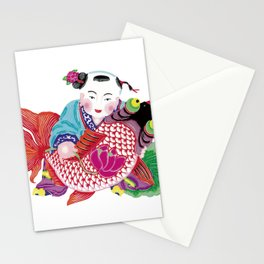 Chinese Paper Cutting Chinoiserie Watercolor Design Stationery Cards