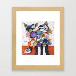 Chickadee Garden Floral Framed Art Print