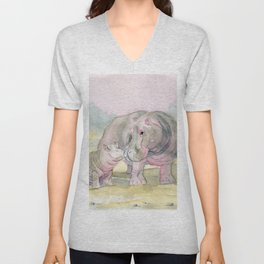 Colorful Mom and Baby Hippo Unisex V-Neck