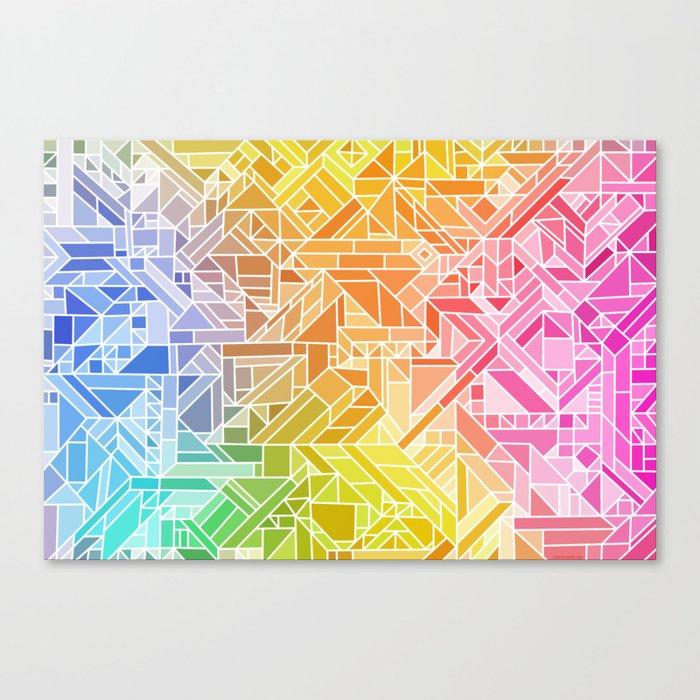 Bright Gradient (Hot Pink Orange Green Yellow Blue) Geometric Pattern Print Canvas Print