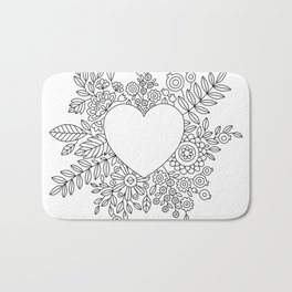 Flourishing Heart Adult Coloring Illustration, Heart and Flowers Wreath Bath Mat