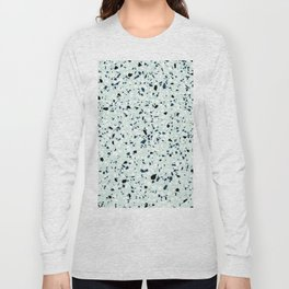 'Speckle Party' Navy Mint Black White Dots Speckle Terrazzo Pattern Long Sleeve T-shirt