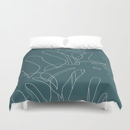 Monstera No2 Teal Duvet Cover