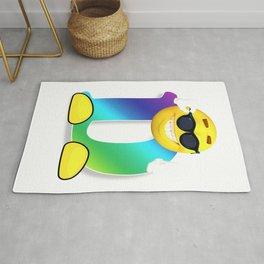 Letter D Alphabet Smiley Monogram Face Emoji Shirt for Men Women Kids Rug