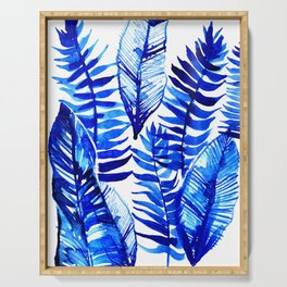 Jungle Leaves & Ferns in Blue Serving Tray