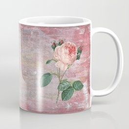 Vintage & Shabby Chic - Rose on pink grunge background  - Roses and flowers garden Coffee Mug