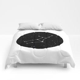 Virgo star sign zodiac star chart constellation black and white Comforters
