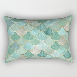Moroccan Mermaid Fish Scale Pattern, Green and Gold Rectangular Pillow