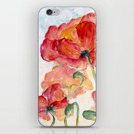 Tangerine Orange Poppy field WaterColor by CheyAnne Sexton iPhone Skin