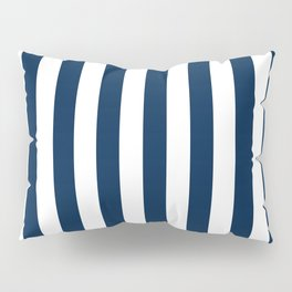 Narrow Vertical Stripes - White and Oxford Blue Pillow Sham