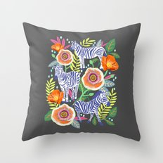 Zebra Idea, zebra print, animal print, flower print  Throw Pillow