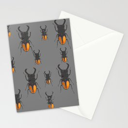 NATURE LOVERS STAG HORNED BEETLES BUG GREY ART M Stationery Cards