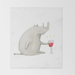 Wino Rhino Throw Blanket