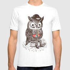 Strange Owl MEDIUM White Mens Fitted Tee