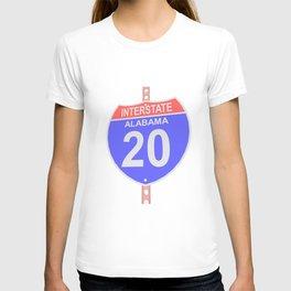 Interstate highway 20 road sign in Alabama T-shirt