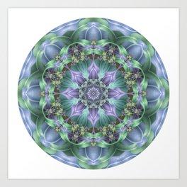 Ribbon Mandala in Blue and Purple Art Print