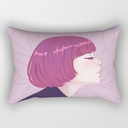 Portrait of girl on flower background Rectangular Pillow