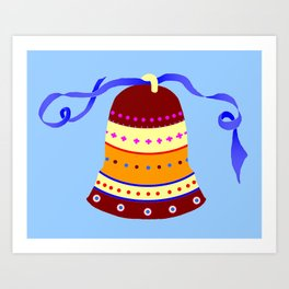 Bell and blue ribbon Art Print