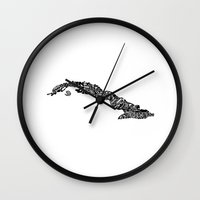 cuba Wall Clocks featuring Typographic Cuba by CAPow!