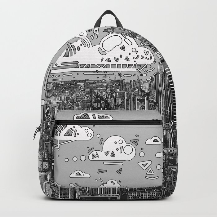 new york city skyline black and white Backpack