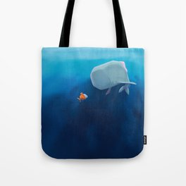 The little sperm whale and the fish Tote Bag