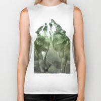 wolves Biker Tanks featuring Wolves by YM_Art by Yv✿n / aka Yanieck Mariani