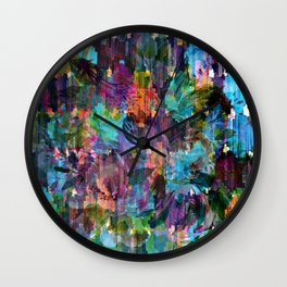 Colorful messy flowers collage Wall Clock