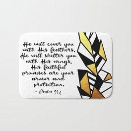 Gold Feather & Psalm 91:4 Bath Mat