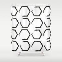 hexagon Shower Curtains featuring White Hexagon by C Designz