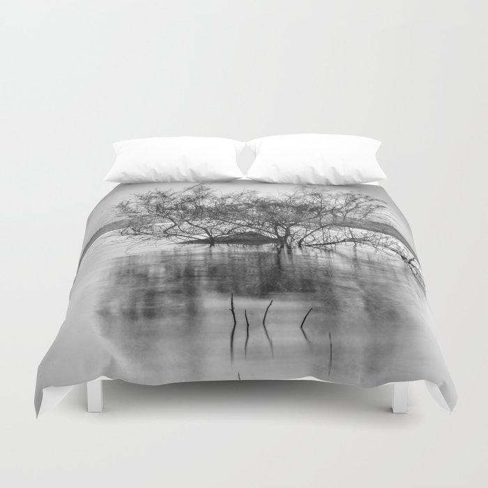 """Peace at the lake"". Dream sunset. Monochrome Duvet Cover"