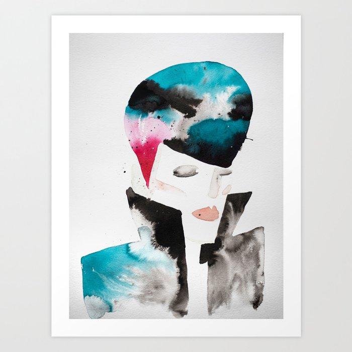 Color-bleed Portrait of a Rocker Art Print