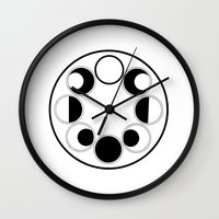 moon phase Wall Clocks featuring Moon Phase Circle by Mind Over Matter