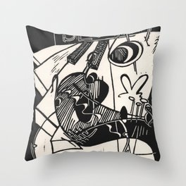 Herbie's Tune, Abstract Jazz Instruments Black and White Block Print Throw Pillow