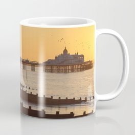 Beautiful sunrise over English Channel horizon and Eastbourne pier, East Sussex, UK Coffee Mug