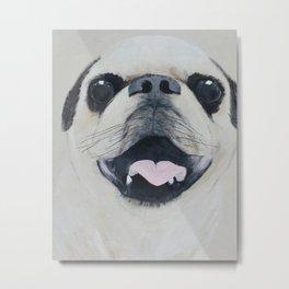 Pug Portrait - Original painting by Tracy Sayers Trombetta Metal Print