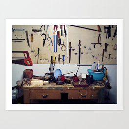 Dirty workbench Art Print