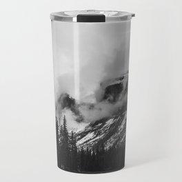 Smokey Mountains Maligne Lake Landscape Photography Black and White by Magda Opoka Travel Mug
