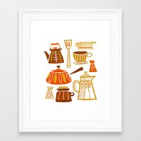 mid century Framed Art Prints featuring Mid Century Modern Kitchen by Van Huynh