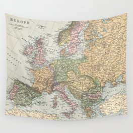 Vintage Map of Europe (1892) Wall Tapestry