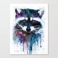 raccoon Canvas Prints featuring Raccoon by Slaveika Aladjova