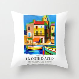 1963 Cote d'Azur French Riviera Vintage World Travel Poster Throw Pillow