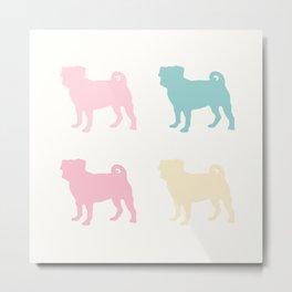Pastel Pugs Pattern Metal Print