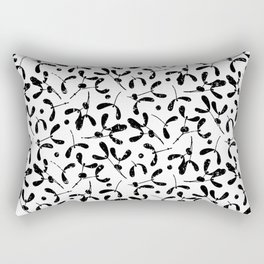 Rustic Mistletoe White and Black Rectangular Pillow
