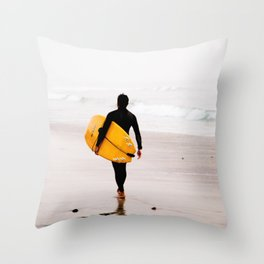 Yellow surf surfer Throw Pillow